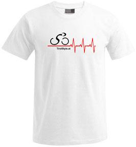 """Herren Premium T-Shirt, Kurzarm, weiß """"Klassiker"""" Radfahrer mit Herzschlag"""