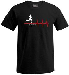 """Herren Premium T-Shirt, Kurzarm, schwarz """"Klassiker"""" Läufer mit Herzschlag"""