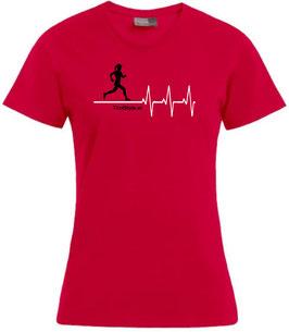 """Damen Premium T-Shirt, Kurzarm, rot """"Klassiker"""" Läuferin mit Herzschlag"""