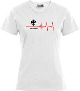 "Damen Premium T-Shirt, Kurzarm, weiß ""Klassiker"" Tiroler Adler mit Herzschlag"