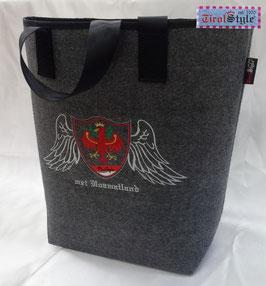 """Einkaufstasche """"Shopper"""" Stickerei mei Hoamatland, Wappen, Tiroler Flagge und Adler mit Engelsfügel"""