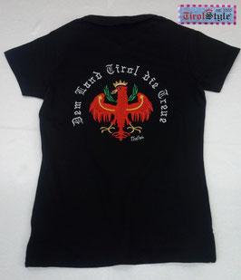 """Damen Stretch Piqué Polo schwarz """"der Classicer-figurbetont"""", Stickerei Dem Land Tirol die Treue"""