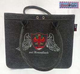 """Handtasche """"Hannah"""" Stickerei mei Hoamatland, Wappen, Tiroler Flagge und Adler mit Engelsfügel"""