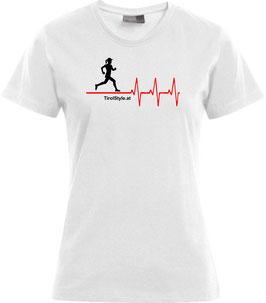 """Damen Premium T-Shirt, Kurzarm, weiß """"Klassiker"""" Läuferin mit Herzschlag"""