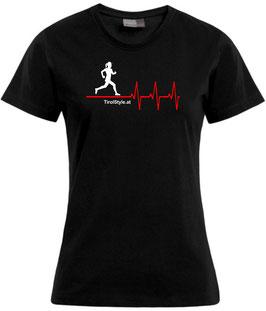 """Damen Premium T-Shirt, Kurzarm, schwarz """"Klassiker"""" Läuferin mit Herzschlag"""