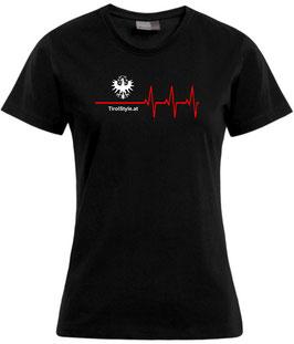"Damen Premium T-Shirt, Kurzarm, schwarz ""Klassiker"" Tiroler Adler mit Herzschlag"