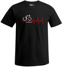 """Herren Premium T-Shirt, Kurzarm, schwarz """"Klassiker"""" Radfahrer mit Herzschlag"""