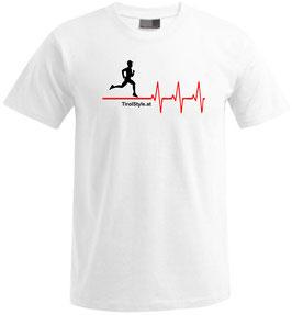 """Herren Premium T-Shirt, Kurzarm, weiß """"Klassiker"""" Läufer mit Herzschlag"""