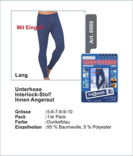 Herren Unterhose lang  blau