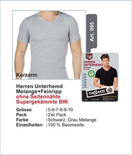 Herren Unterhemd   Kurzarm   schwarz+grau   2er-Pack