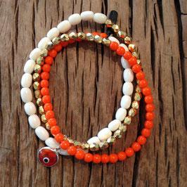 3er Bracelet orange türkisches Auge