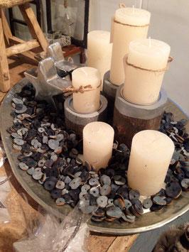 Kerzen- Ständer 3er Set Holz silber Broste