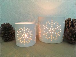 Windlicht Schneeflocke Keramik weiss matt