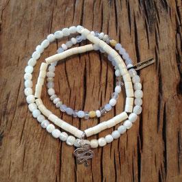 3er Bracelet offwhite Schlange