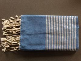 Fouta/ Hammam- Tuch blau mit Lurexstreifen
