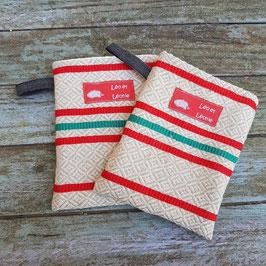 2 maniques en coton ancien rayé rouge et vert