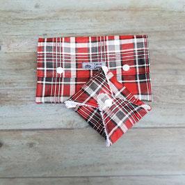 Trousse de toilette en  coton enduit noir et rouge avec pochette à savon assortie