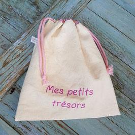 """Petit sac à coulisse en lin ancien brodé """"mes petits trésors"""""""