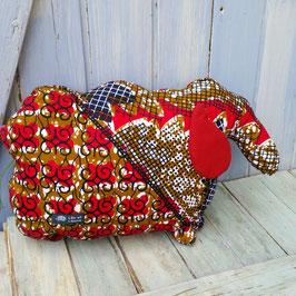 Coussin mouton en coton  imprimé rouge marine blanc