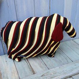 Coussin mouton en coton  rayé bordeaux écru noir