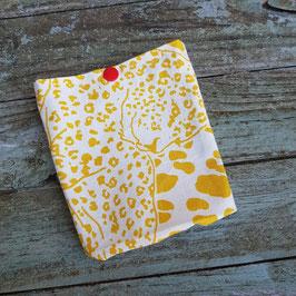 Pochette pour masque, en toile écrue avec taches jaunes