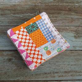 Dessous de verre en patchwork de cotons imprimés( style log cabin)