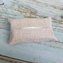 Pochette à mouchoir en tissu de lin beige