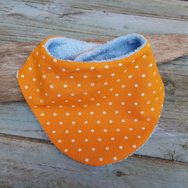 bavoir bandana orange à pois blancs