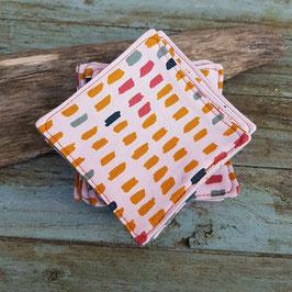 Dessous de verre en coton rose imprimé de taches de couleur