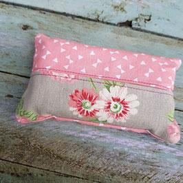 Pochette à mouchoir en tissu rose et tissu gris à fleurs