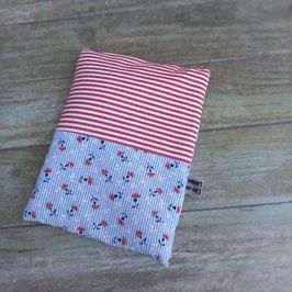 Bouillotte aux graines de lin bio bleuets, rayures rouges et mini motifs blancs