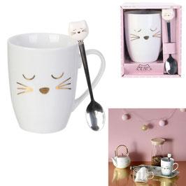 """Mug et cuillère à tête de chat """"mon chat et moi"""""""