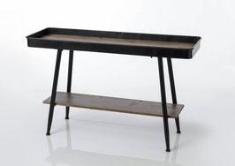 Console plateau métal bois