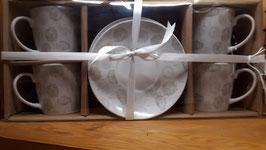 Tasses à café et sous-tasses Allium - Coffret de 4 pièces