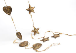 Guirlande étoile/coeur métal - 2 assortis