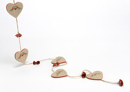 Guirlande coeur bois et clochettes métal