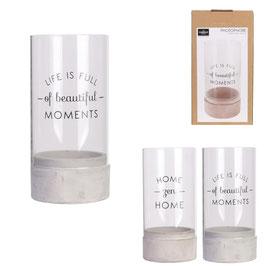 Photophore ciment et verre à message - 2 modèles au choix