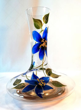 "Carafe à décanter ""Amaryllis bleus, base or"""