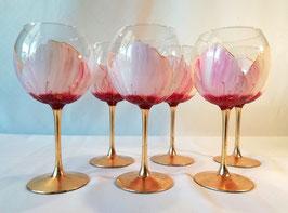 """Verres à eau """"Pivoines Roses, base or"""""""