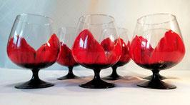 """Verres à Coktail """"Coquelicots rouges, base noire"""""""