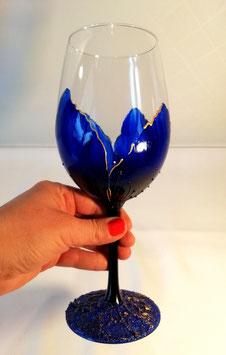 """Verres à vin """"Coquelicots bleus, or, base sablée"""""""
