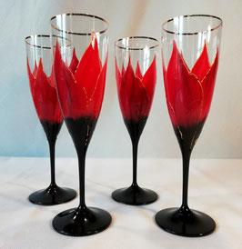 "Flûtes ""Amaryllis rouge, liseré or"""