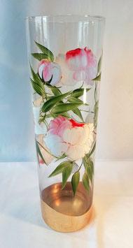 "Vase ""Pivoines Roses, Lys Blanc"""