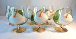"Verre à cocktail ""Arums, feuilles, base or"""