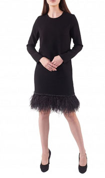 Kleid mit Straussfedern und langen Ärmeln (kk-7395)