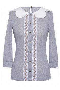 Feminine taillierte weiche Bluse mit 3-4 Ärmeln und Bubikragen grau (kk-3079)