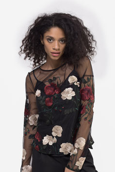 Bluse mit floraler Stickerei (kk-3360)