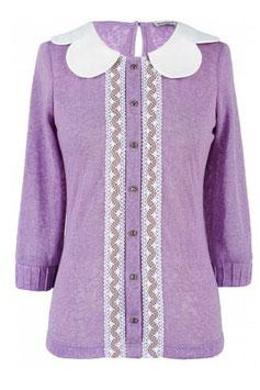 Feminine taillierte weiche Bluse mit 3-4 Ärmeln und Bubikragen flieder / violett (kk-3079)