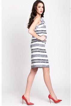 Gestreiftes Kleid aus Baumwolle und Vogelstickerei (kk-7244)