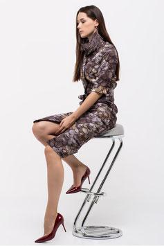 Kleid mit Knopfleiste, Seitentaschen und Designerprint (kk-7648)